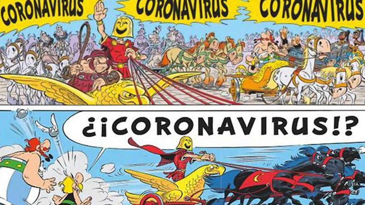 «Coronavirus», personaje al que se miden Astérix y Obélix en el cómic publicado en 2017 «Astérix en Italia»