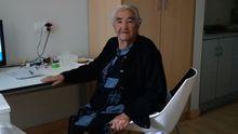 Teresa García, de 86 años, aislada en la Residencia de Estudiantes de Mieres