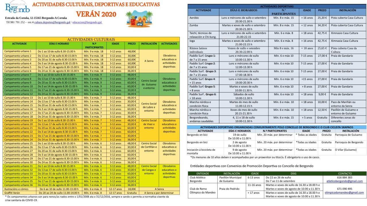 Calendarios de las actividades ofertadas por el Concello de Bergondo para este verano
