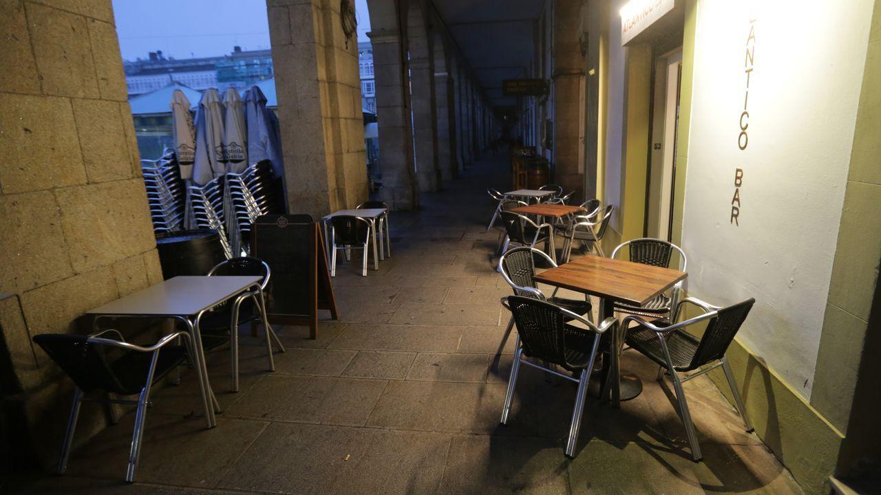 Terrazas vacías en A Coruña. Imagen de archivo