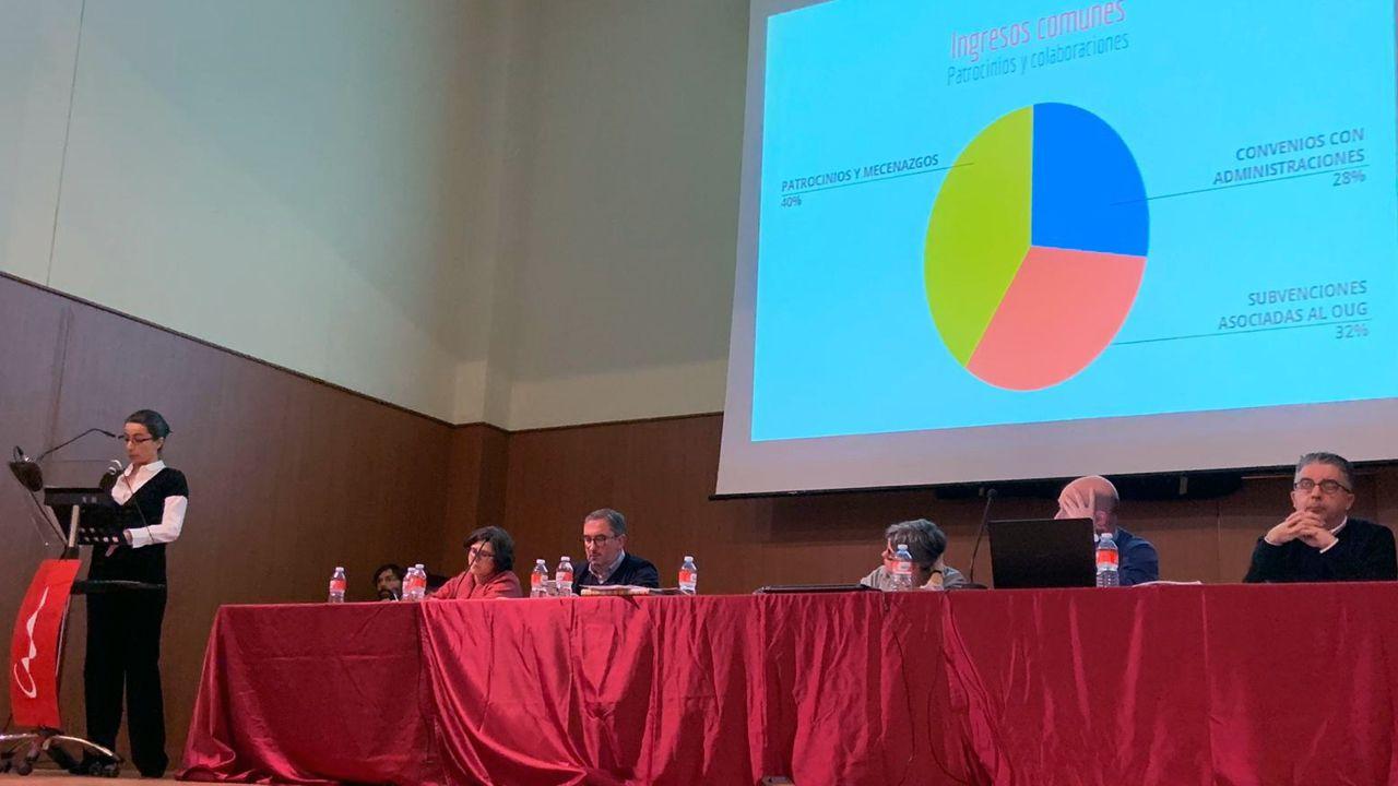 isozaki.La tesorera del Colegio Oficial de Arquitectos de Asturias, María José Fernández, presenta los presupuestos a la asamblea