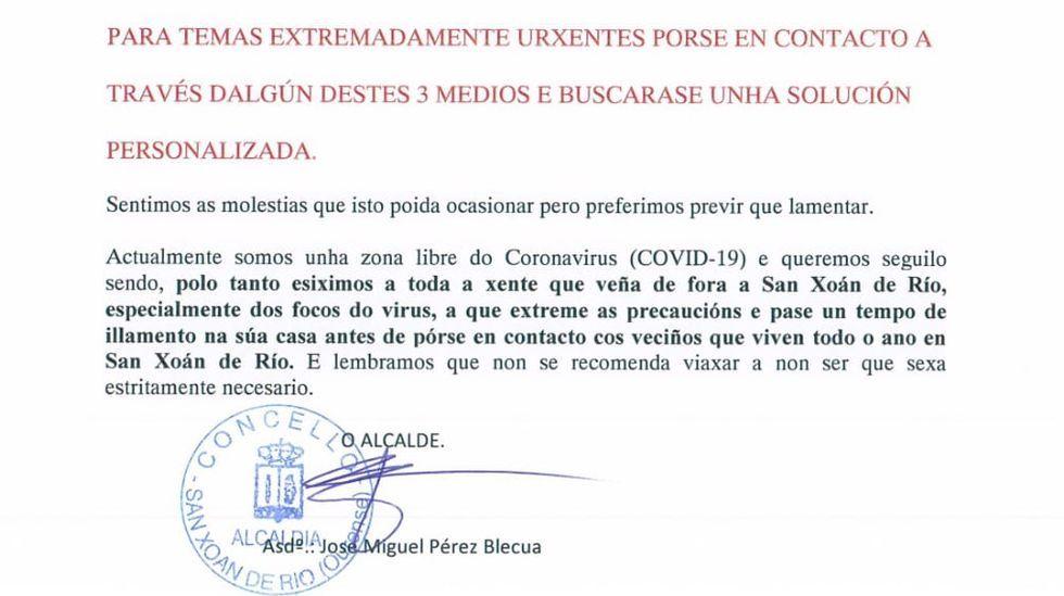 Extracto del bando publicado por el alcalde de San Xoán de Río