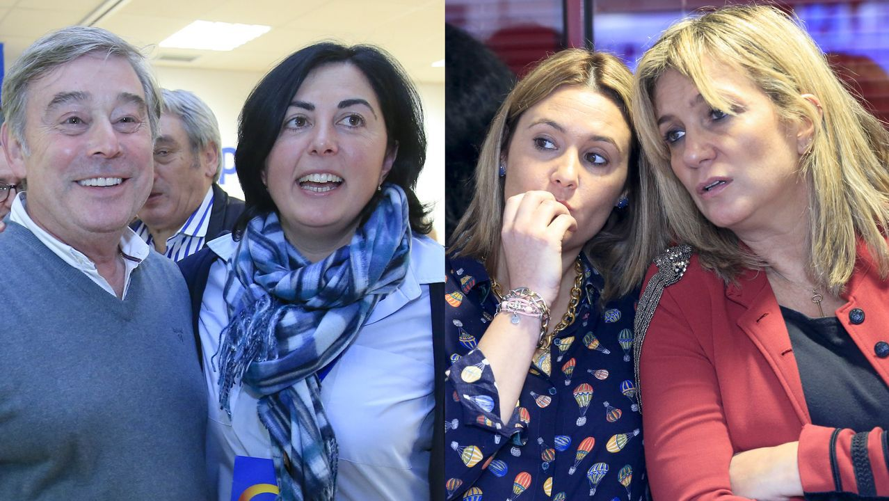 José Manuel Barreiro y Elena Candia (izquierda) y Patricia Otero y Ana Prieto (derecha), minutos después de conocer los resultados