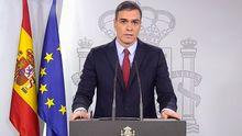 Pedro Sánchez, durante la declaración institucional