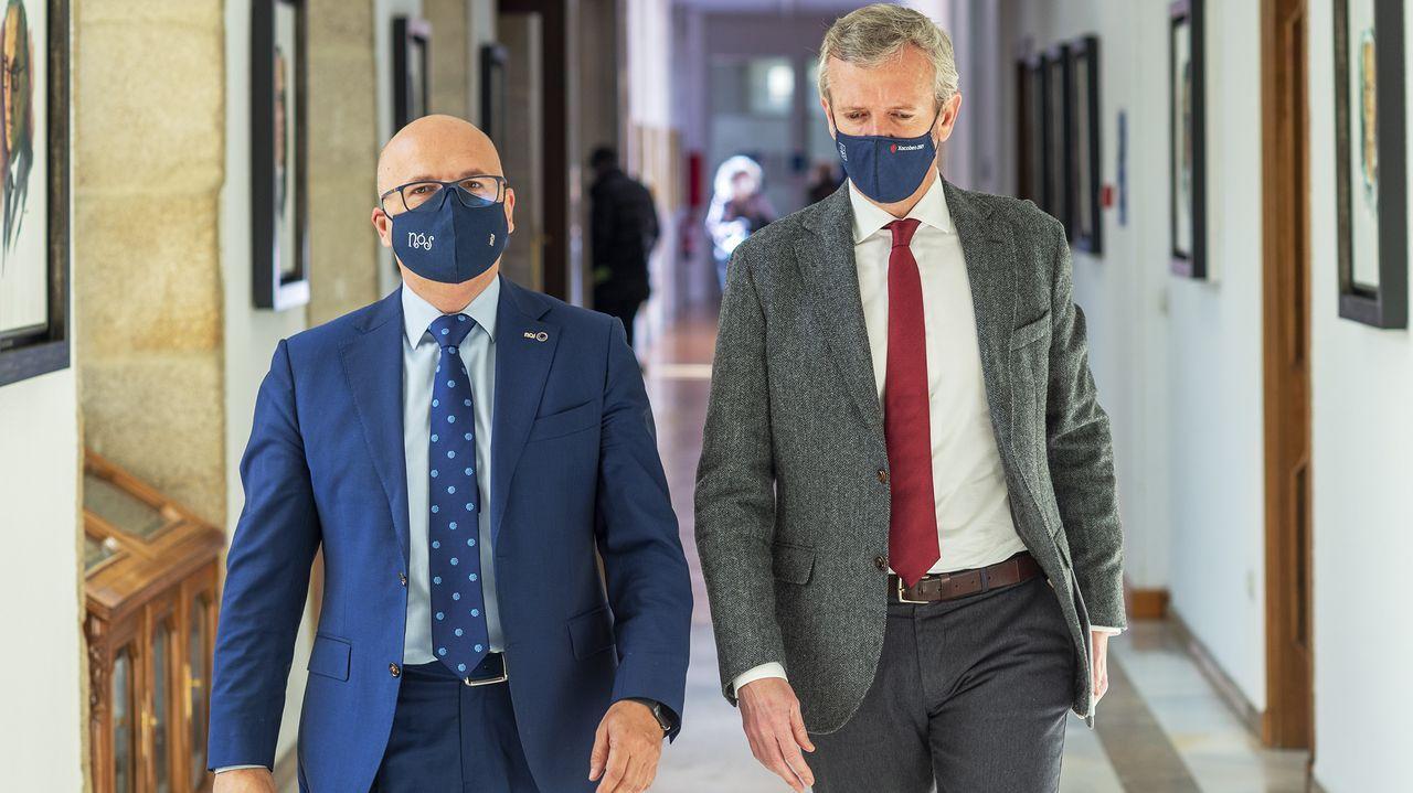 José Manuel Baltar y Alfonso Rueda, este lunes en la Diputación