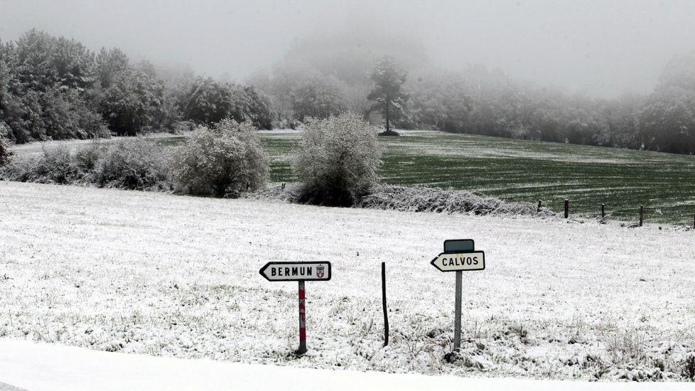Paisaje nevado enel municipio de O Incio