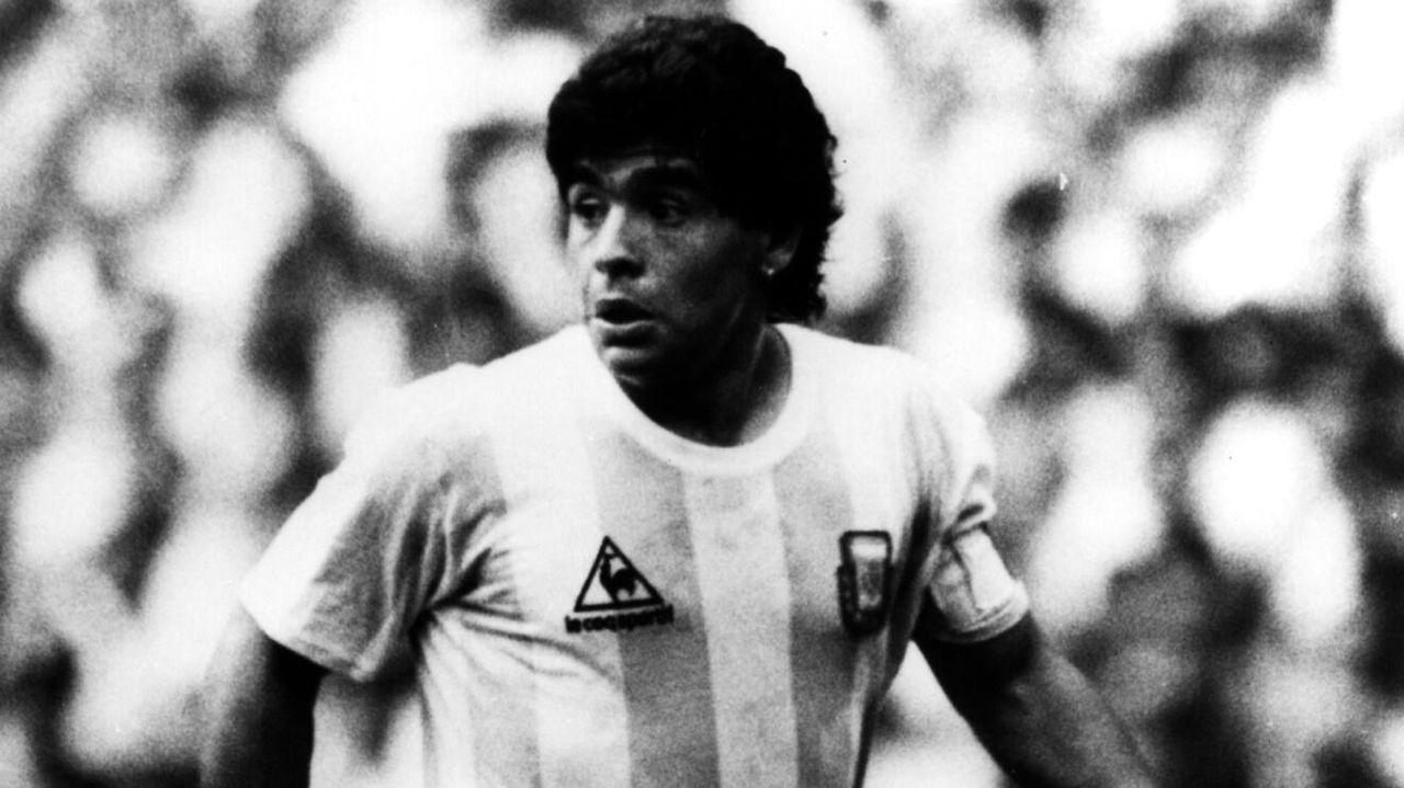 Vestido con los colores de Argentina durante el Mundial de México