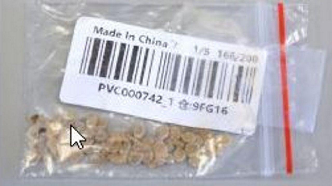 Imagen de uno de los sobres con semillas que llegó a Estados Unidos