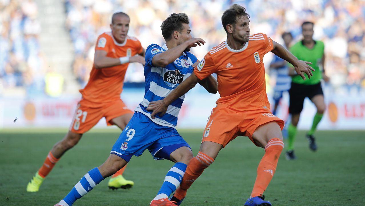 gol Luismi Ortuño Nolaskoain Real Oviedo Deportivo Carlos Tartiere.Christian Santos y Carlos Hernández en el Deportivo-Real Oviedo