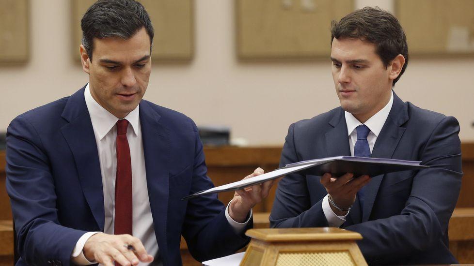 Imagen de archivo del pacto entre Sánchez y Rivera, en febrero del 2016, «para un gobierno reformista y de progreso»