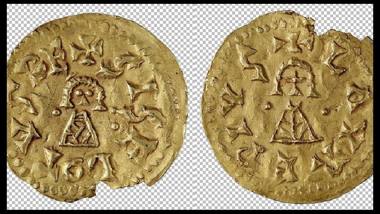 Anverso y reverso de una moneda de oro que probablemente fue acuñada en el territorio de O Courel durante el reinado del monarca visigodo Sisebuto