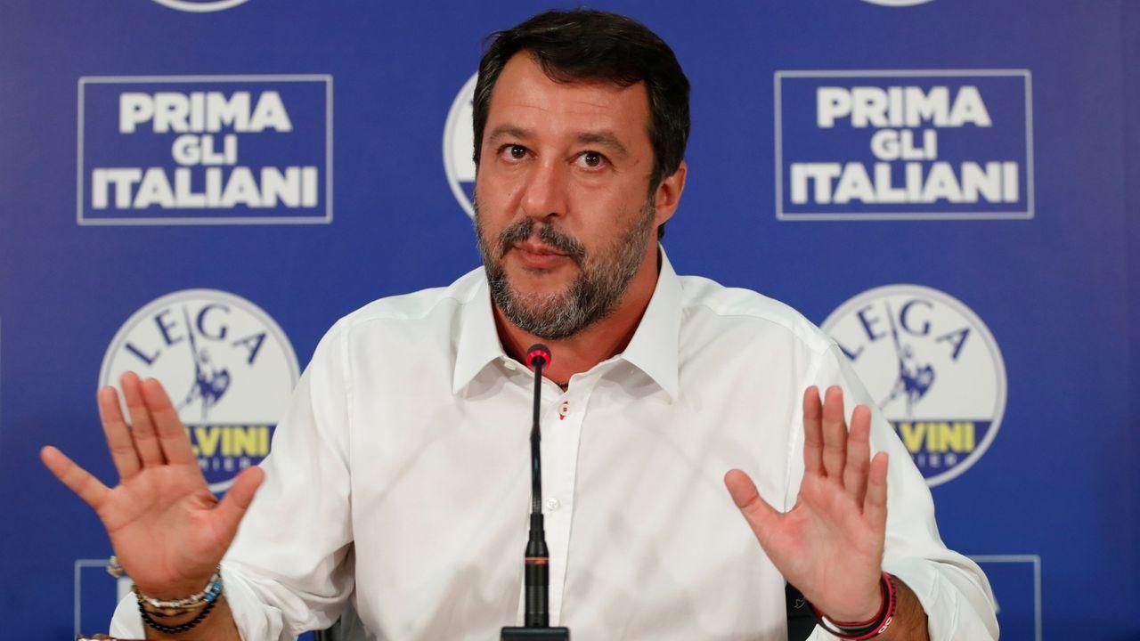 Matteo Salvini, en una rueda de prensa tras conocer los resultados de las elecciones celebradas el domingo y el lunes