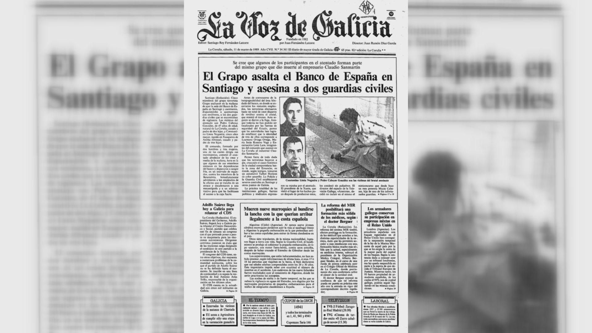 Así recogía la portada de La Voz de Galicia el atentado de aquel 10 de marzo de 1989