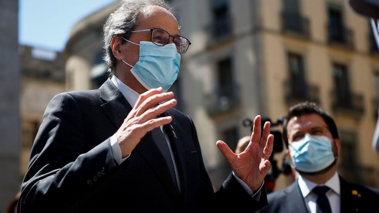 Los pequeños se preguntan «por qué» van a tener que emigrar.Quim Torra, junto al vicepresidente Pere Aragonés, las dos figuras visibles del enfrentamiento en el gobierno catalán