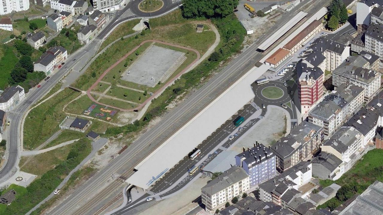 Pegada de cartales en Carballo.Obras del AVE en pleno casco urbano de Ourense, en la estación intermedia de San Francisco