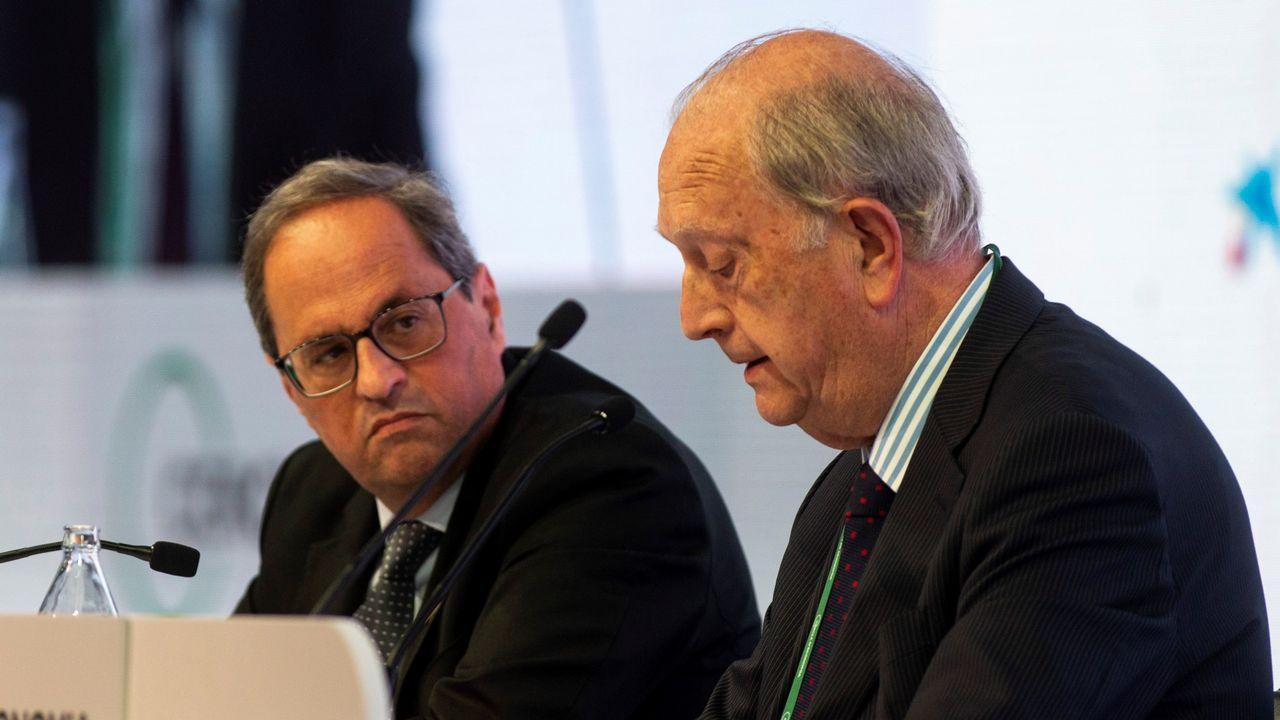 El presidente de la Generalitat, Quim Torra, acompañado por el presidente del Círculo de Economía, Juan José Bruguera, hoy en Sitges