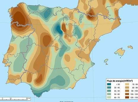 El mapa de la Universidad de Valladolid recoge el flujo de calor en el subsuelo de la Península.
