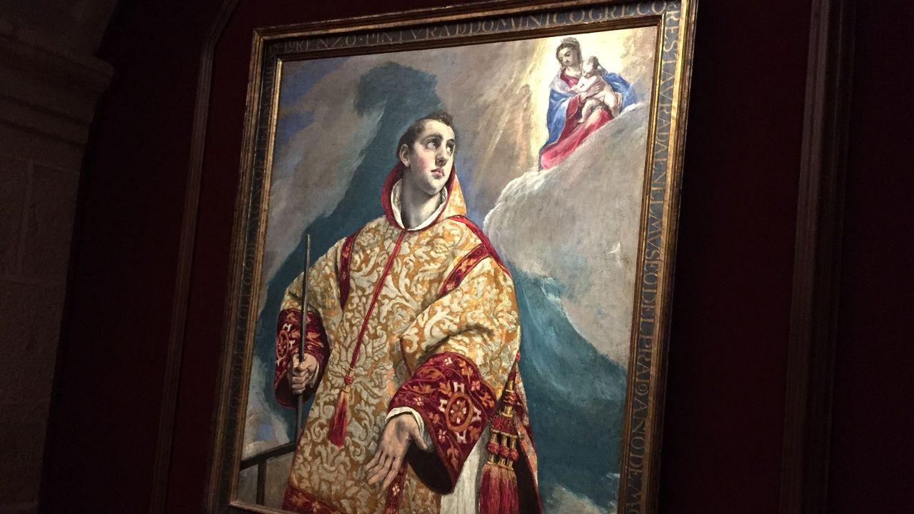 San Lorenzo con la Virgen y el Niño, un óleo sobre lienzo original de El Greco