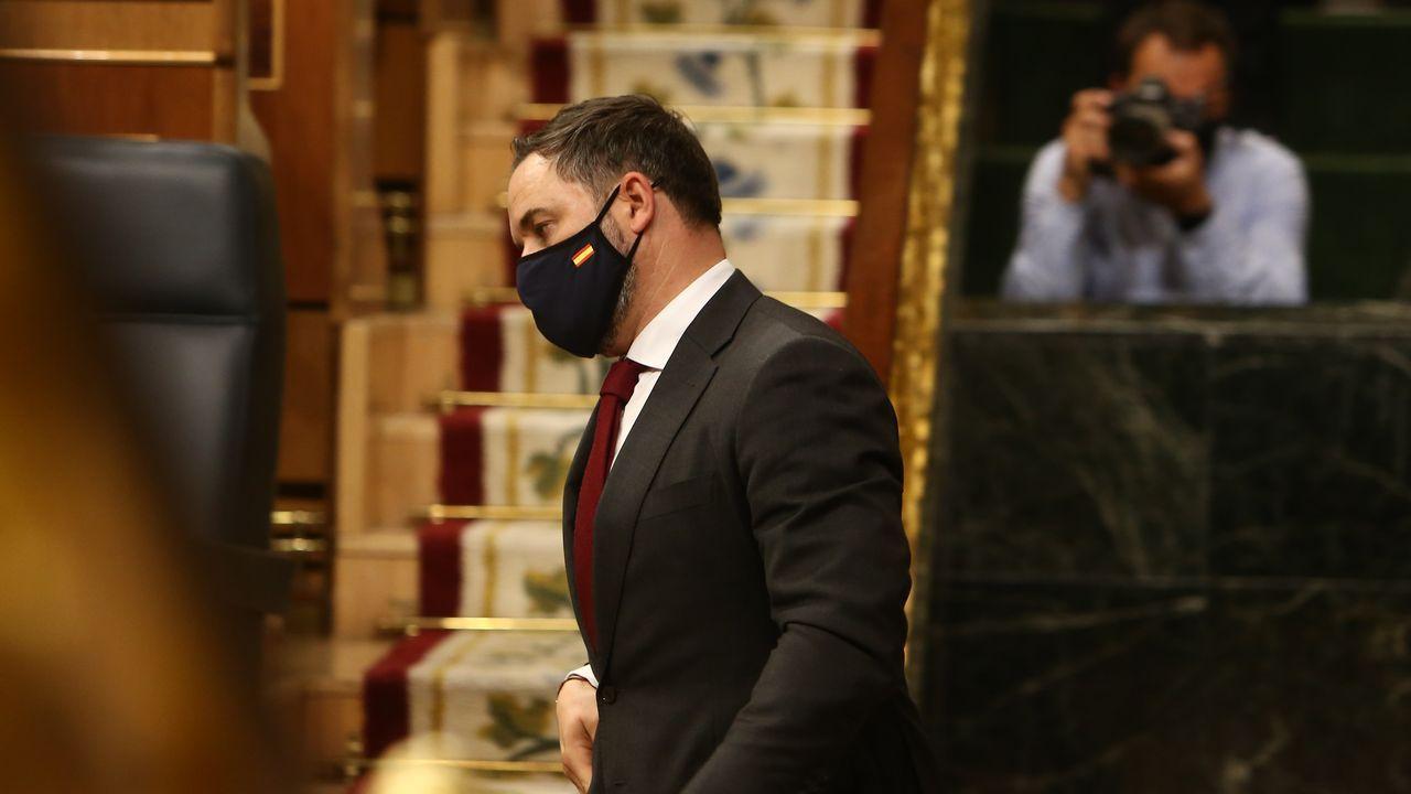 Santiago Abascal, en el pleno de la moción de censura planteada por Vox