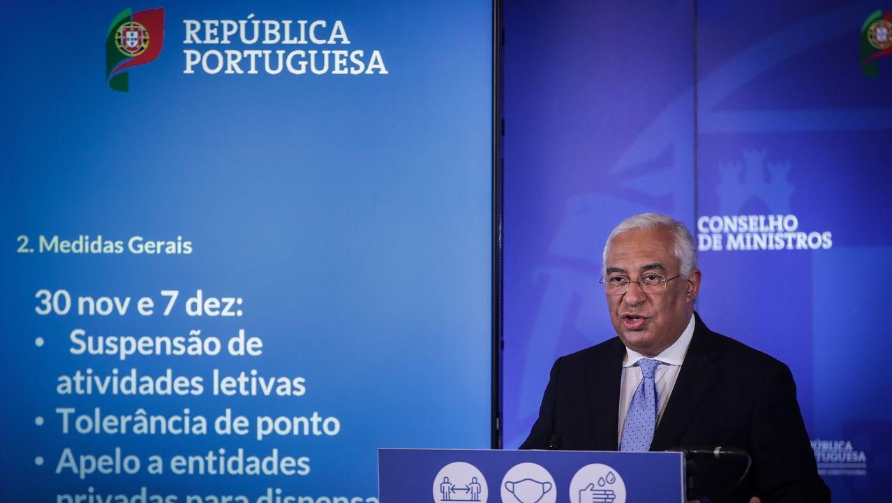 El primer ministro luso, António Costa, durante el anuncio de las nuevas restricciones