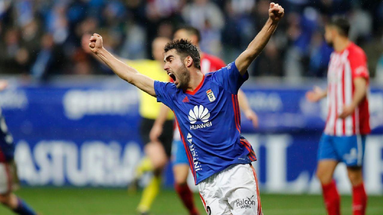 Johannesson celebra el empate de Mossa ante el Sporting