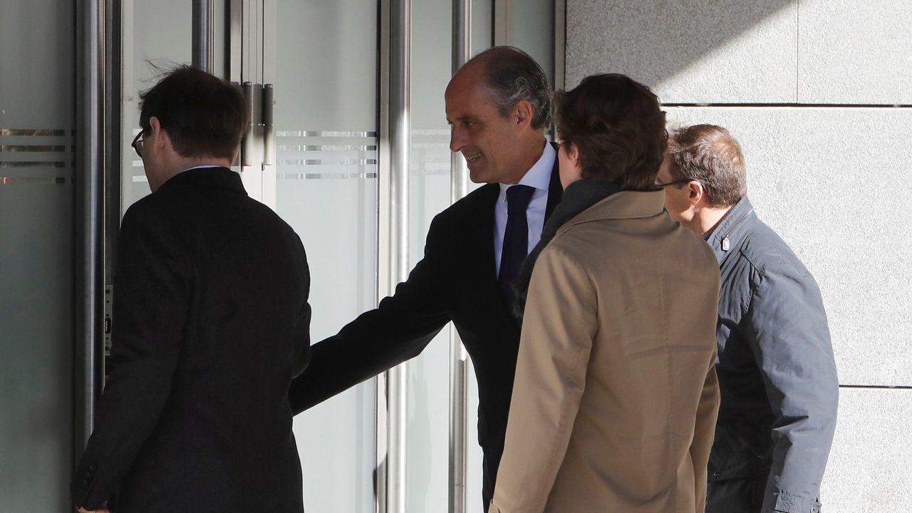 Zaplana: «Jamás participé en una adjudicación ilegal».El expresidente valenciano Francisco Camps llegando a la Audiencia Nacional para declarar como imputado en una pieza del caso Gürtel