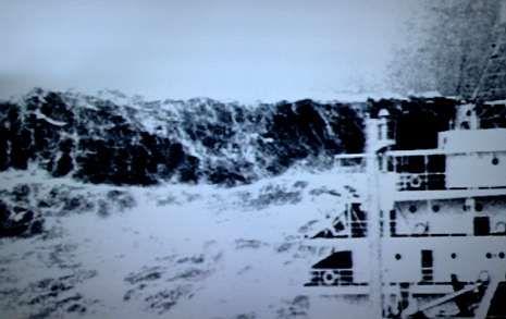 Única fotografía de una ola extrema, tomada en el golfo de Vizcaya en 1940.