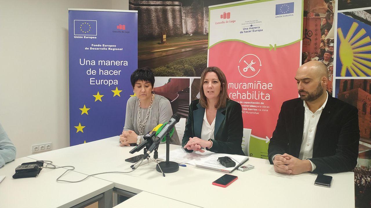 Protección Civil desaloja las termas.Olga Rocamonde, Lara Méndez y Mauricio Repetto presentando el programa de inserción laboral