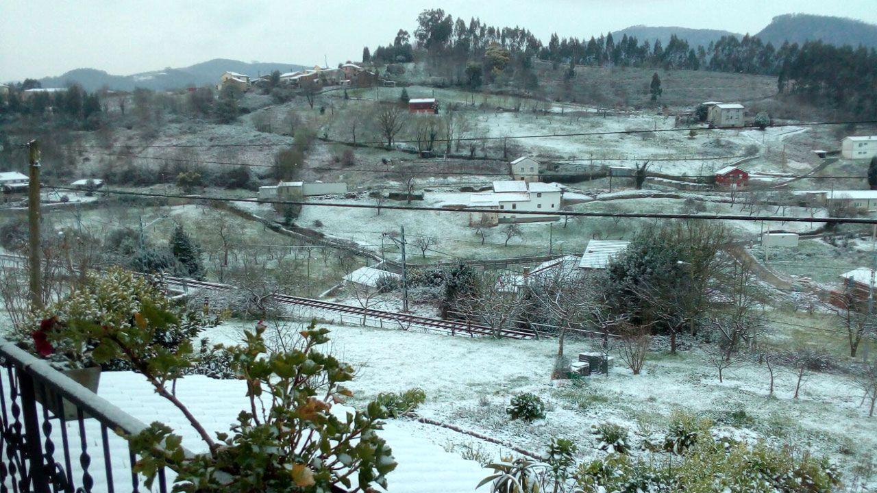 Nieve en Oviedo.Nieve en Santianes de Pravia