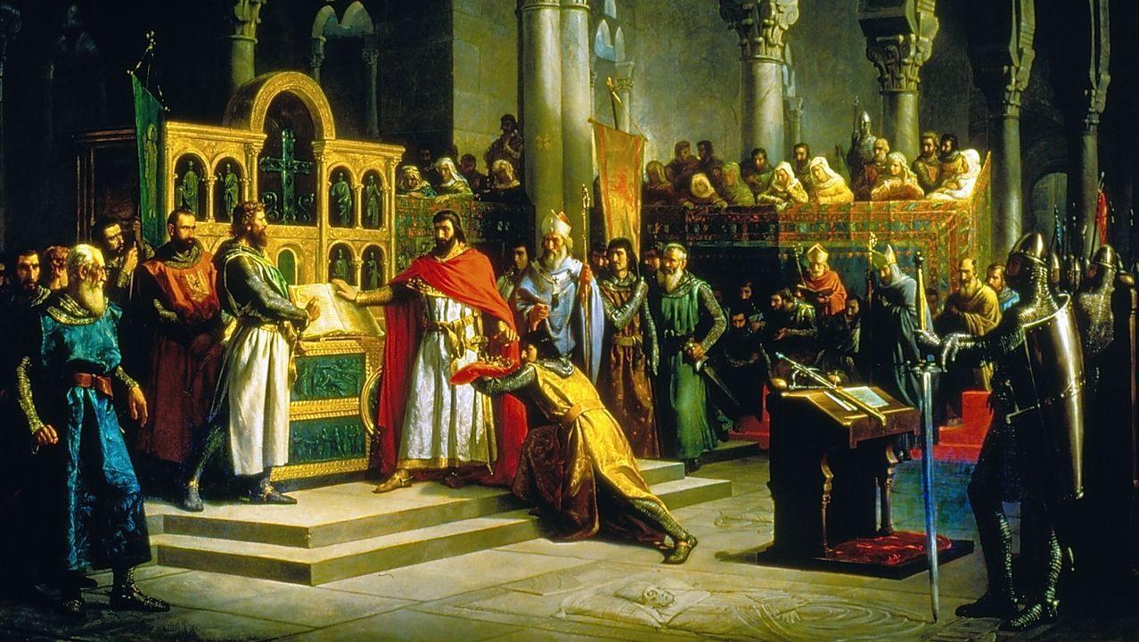 Detalle de «La Jura de Santa Gadea», cuadro de Hiráldez Acosta, que recoge una de las leyendas del Cid