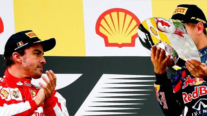 El Gran Premio de Monza, en imágenes.Fernando Alonso, con el presidente de Ferrari, Montezemolo