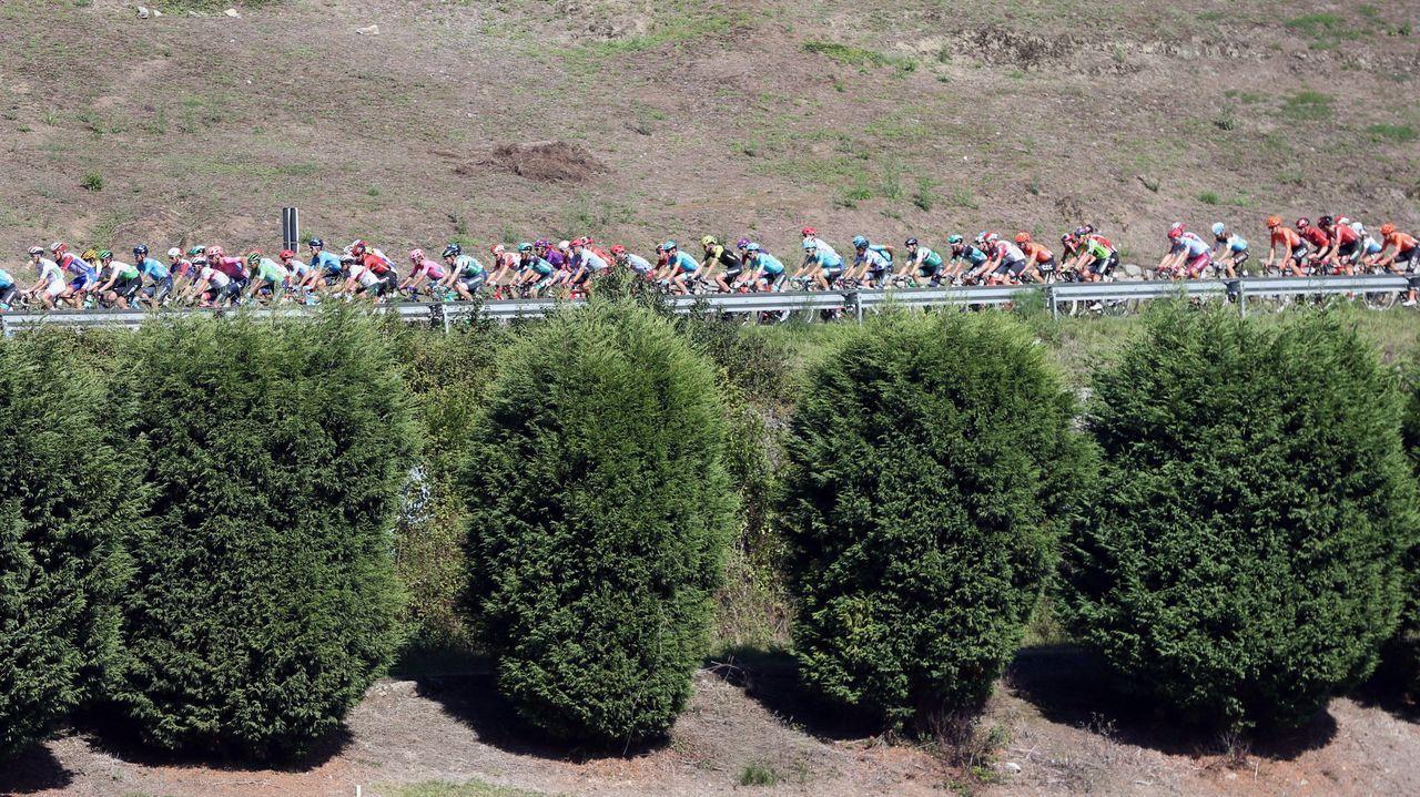 El pelotón ciclista durante la decimocuarta etapa de la 74th Vuelta a España 2019, con salida en la localidad cántabra de San Vicente de la Barquera y meta en Oviedo