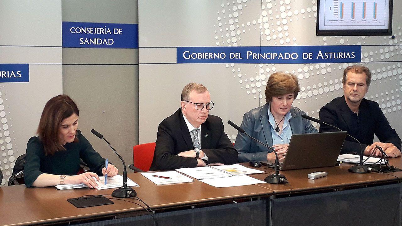 De izquierda a derecha: María Luisa Rodríguez, jefa de servicio del Laboratorio de Salud Pública; el consejero de Sanidad, Francisco del Busto; la directora de la Agencia de Sanidad Ambiental y Consumo, Rosa Urdiales; y José Altolaguirre, jefe de servicio de Riesgos Ambientales y Alimentarios
