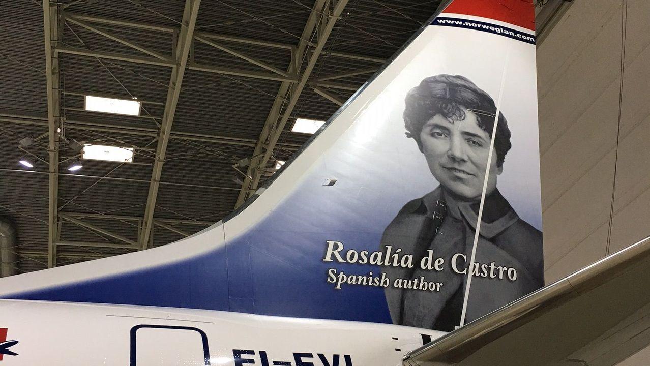 Cola del avión de Norwegian dedicado a Rosalía de Castro, en el aire desde marzo del 2017