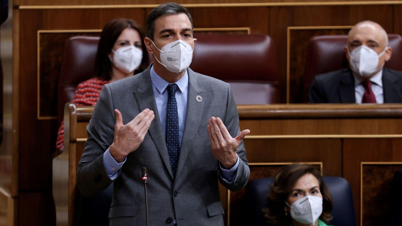 El presidente del Gobierno, Pedro Sánchez, durante la sesión de control