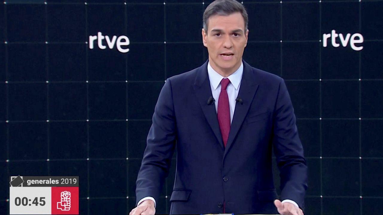 Pedro Sánchez, durante el debate electoral de TVE