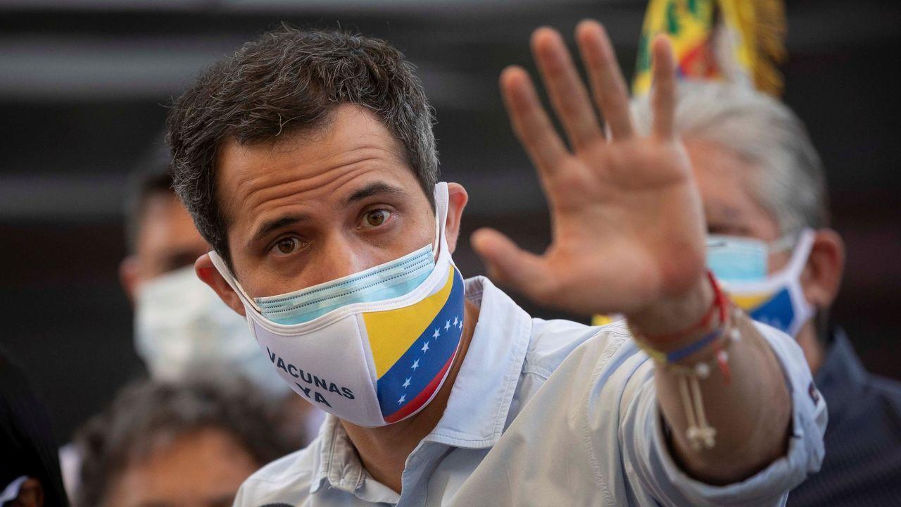 Juan Guaidó, durante una rueda de prensa la pasada semana en Los Palos Grandes, Caracas.