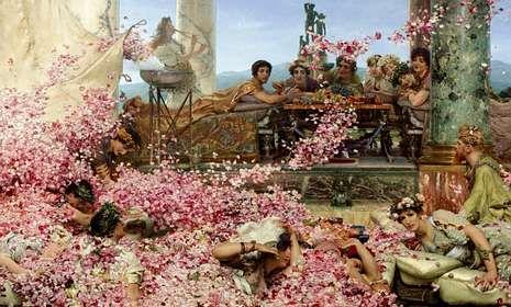 Carlos Slim ya está en Avión.Detalle de «Las rosas de Heliogábalo» (1888), de Lawrence Alma-Tadema, óleo integrado en la exposición.