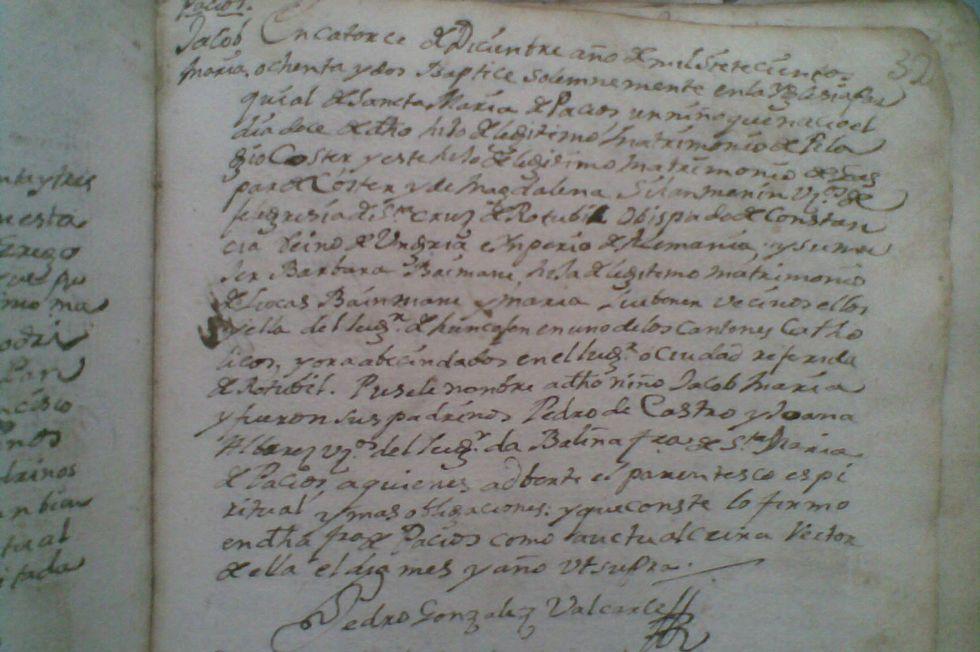 La tragedia de Siria en el objetivo de Oscar Vífer.Acta bautismal de 1780 donde se anotó el nacimiento y sus padres.