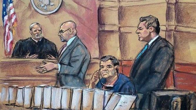 Dibujo de la primera sesión del juicio al Chapo Guzmán.Salma Hayek, Elle Fanning, Sally Potter y Javier Bardem, este miércoles en Berlín