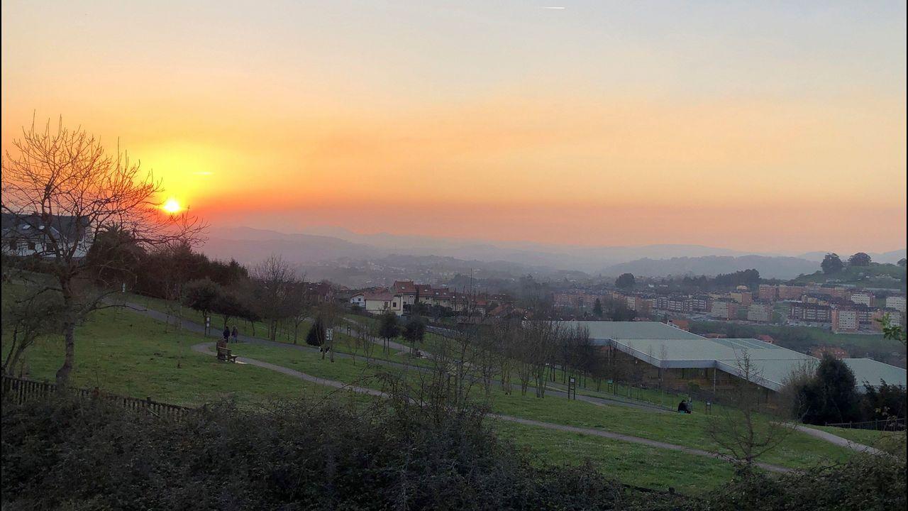 Asturias, Oviedo, Gijón.Aspecto que presentaba la zona oeste de Oviedo, en una jornada con el protocolo por contaminación activado