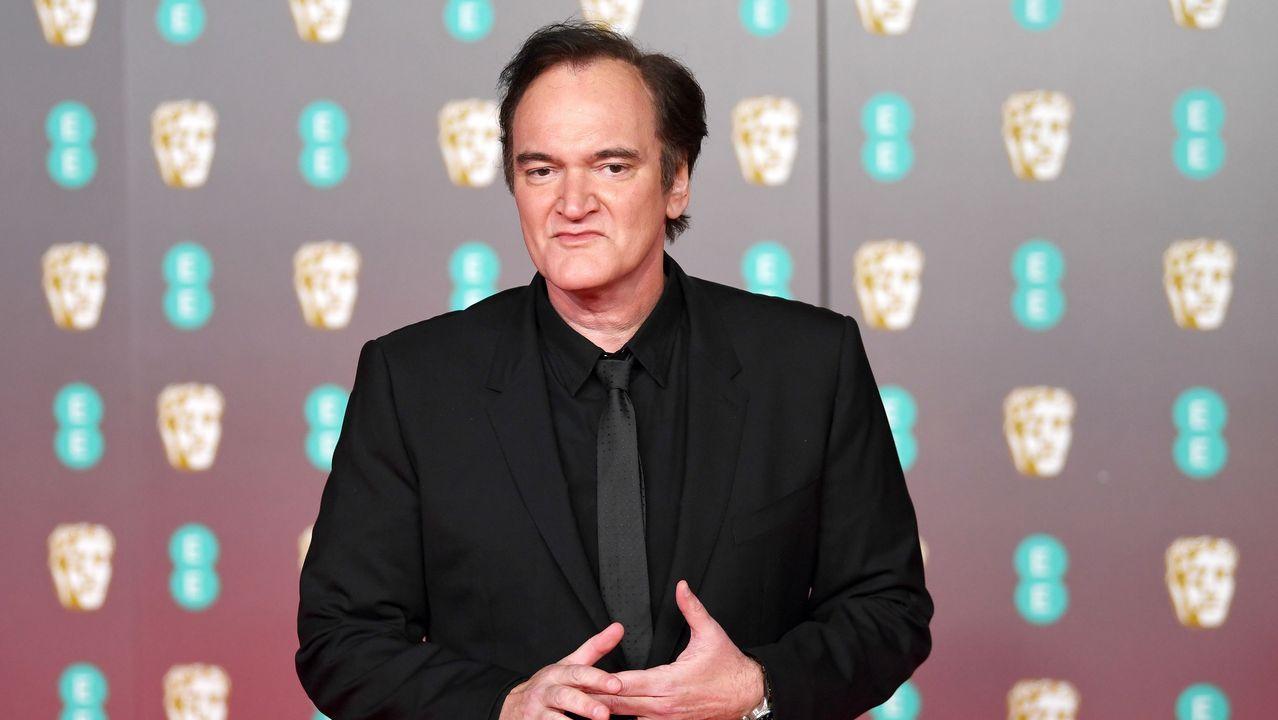 El cineasta Quentin Tarantino, posando en la alfombra roja de los Bafta, donde compite con su filme «Érase una vez en... Hollywood»