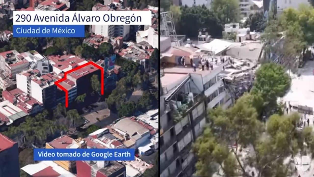El antes y el después de un edificio derrumbado en el número 290 la avenida Álvaro Obregón de Ciudad de México