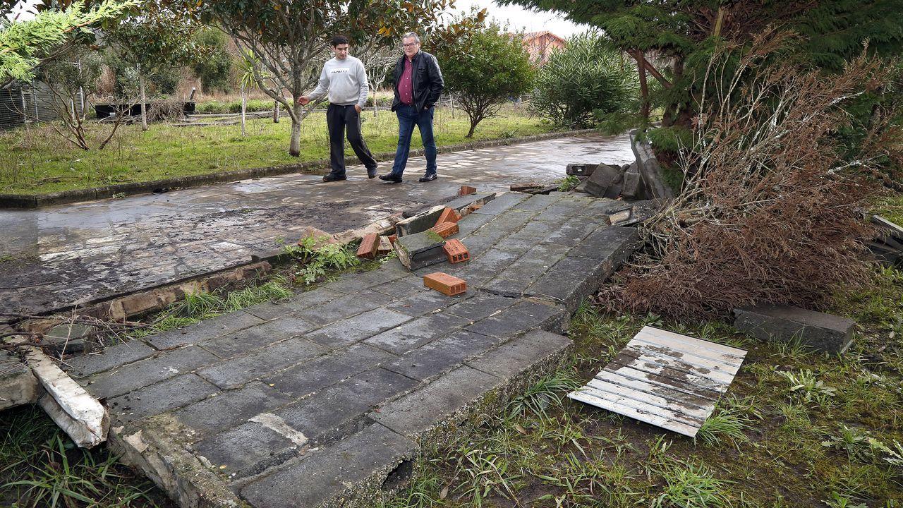 El dia después de las inundaciones en Terra de Porto.Una subida del río Nalón con motivo de uno de los temporales que vivió Asturias en 2019