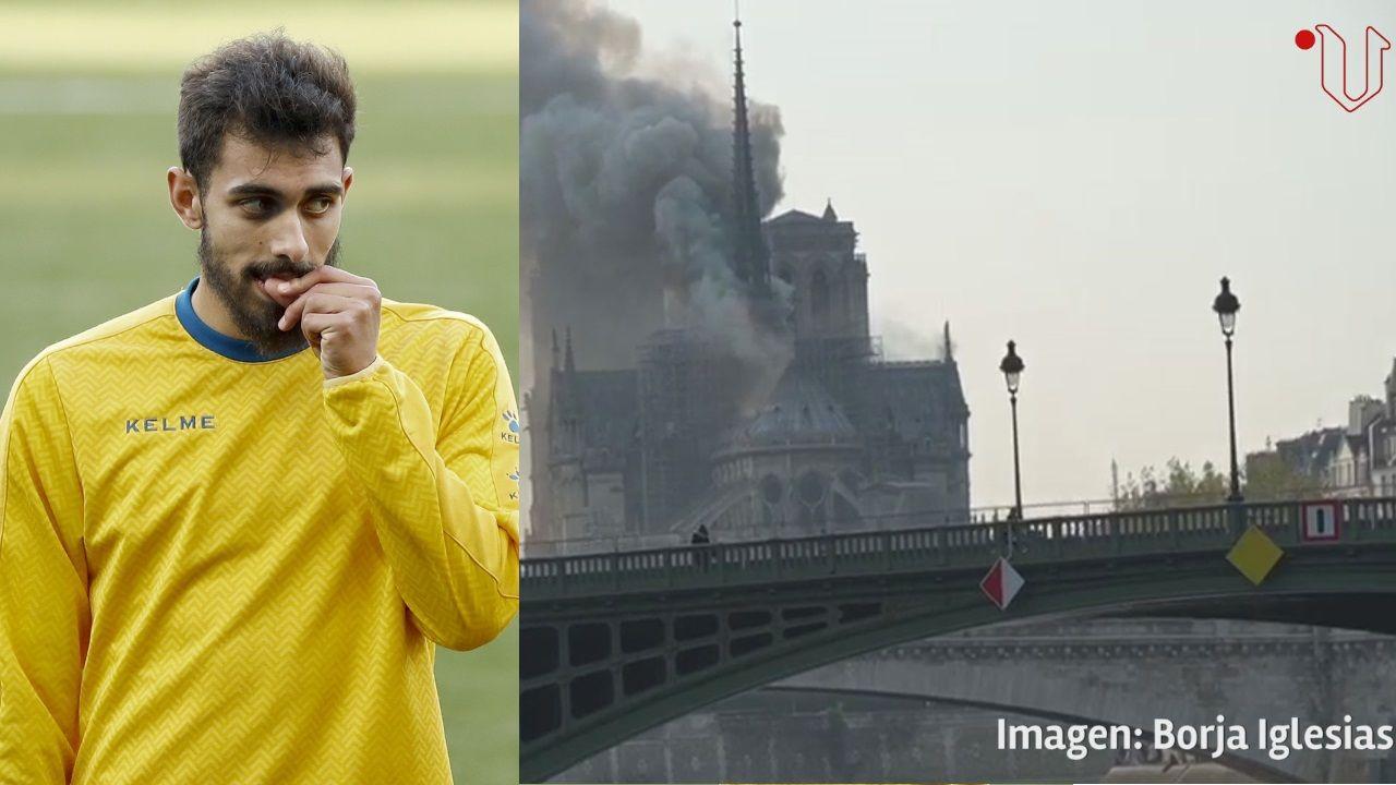 El delantero gallego Borja Iglesias, testigo del incendio de Notre Dame