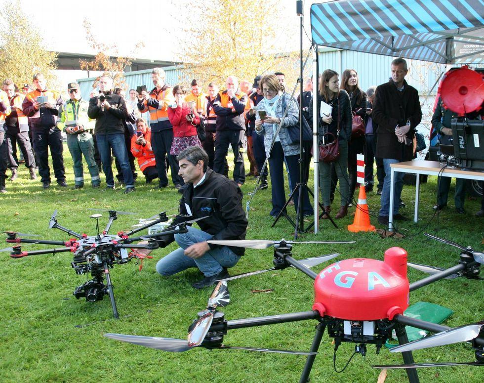 Los drones se presentaron en las jornadas de ayer.