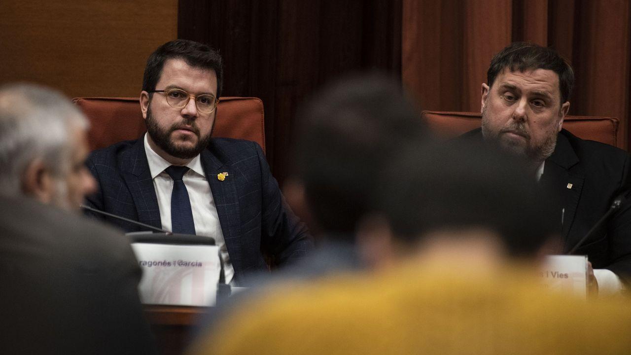 El vicepresidente de la Generalitat, Pere Aragonès, y el líder de ERC, Oriol Junqueras, en una imagen de archivo