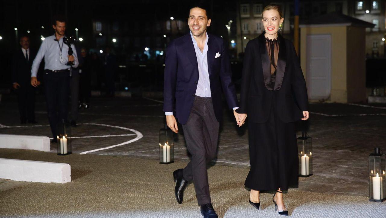 Carlos Torretta y Marta Ortega, a su llegada al Naútico de A Coruña