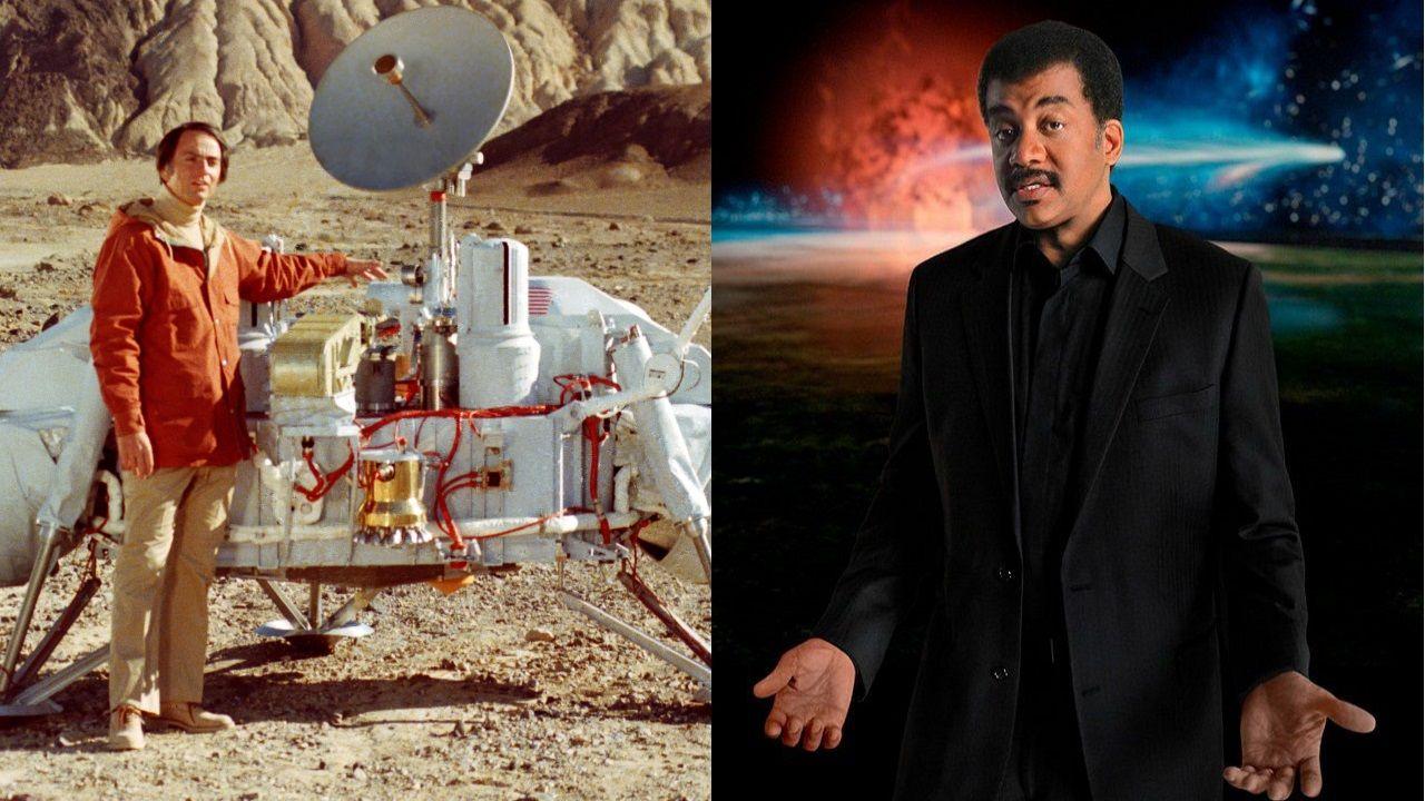 Carl Sagan junto a la sonda Viking (izquierda). A la derecha su discípulo Neil DeGrasse Tyson
