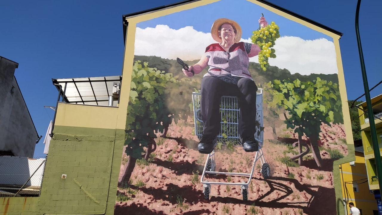 Erundina Macía, vecina de Quiroga, aparece retratada en un mural del artista Joseba Muruzábal